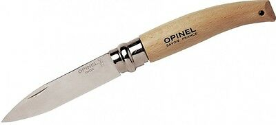 "Opinel No.8 Stainless Garden Folding Knife Beechwood Handle 8.5cm 3.45"" 133080"