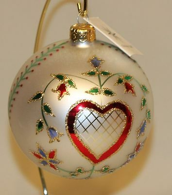 1990 Christopher Radko Glass Christmas Ornament Hearts & Flowers Ball 90-015-0