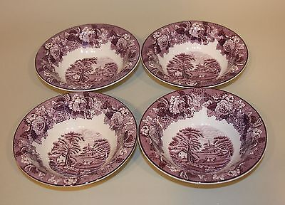 4 Enoch Wood & Son English Scenery Purple 6-5/8 Inch Rim Cereal Bowls