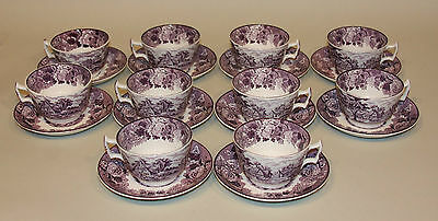 10 Enoch Wood & Son English Scenery Purple Flat Teacups Tea Cups and Saucers