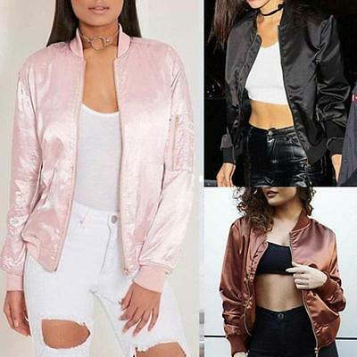Women Ladies Classic Casual Bomber Jacket Vintage Zip Up Biker Outwear Size 6-16