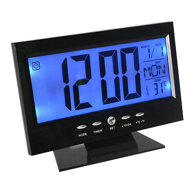 LCD Display Table Alarm Clock With Vibration Sensor and Thermometer - Black