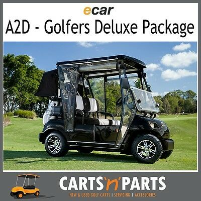 Golf Cart-Buggy NEW ECAR 2 Seat Electric A2D Golfers Deluxe Package-BLACK