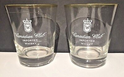 Two Canadian Club Gold-Rimmed Whisky Rocks / Highball Logo Glasses. Large 14 oz!