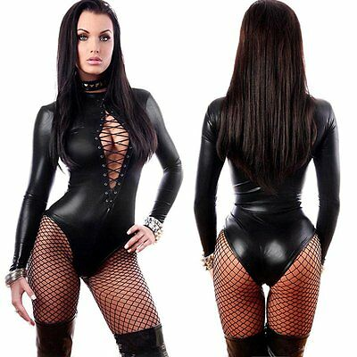 Womens Black Sexy Faux Leather Lingerie Fetish Gothic Clubwear Jumpsuit Catsuit