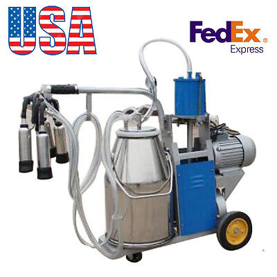 USA!* Milker Electric Vacuum Pump Milking Machine Farm Cows Bucket 25L Stainless