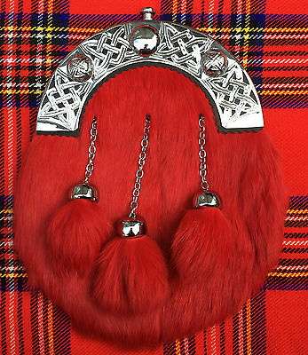 Mens Full Dress Sporrans Red Rabbit Fur/Kilt Sporrans Celtic Cantle/kilt Sporran