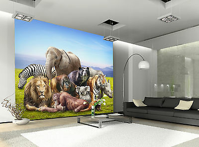 Group of Animals Wall Mural Photo Wallpaper GIANT WALL DECOR PAPER POSTER