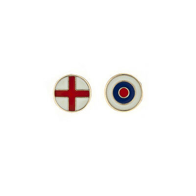 Set of two 9ct Yellow Gold England flag lambretta bullseye Gents stud earrings
