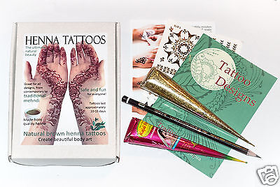 Organic Henna Tattoo Kit in Gift Box + Gold Glitter Gel + Free Gold Transfers JJ