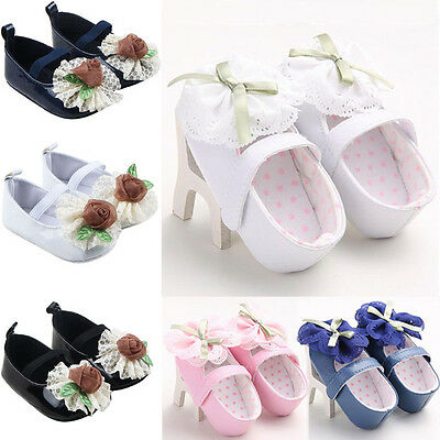 Newborn Baby Girls Soft Sole Crib Shoes Christening Pram Party Princess Sneakers