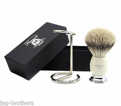 Badger Sliver Tip Hair Brush In Ivory Color Base And Metal Brush Stand