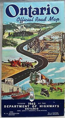 Province Of Ontario Canada Official Highway Road Map 1962 Vintage Travel