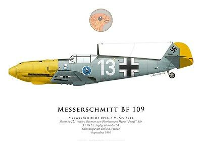 Print Messerschmitt Bf 109E-3, Heinz Bär, JG 51, Battle of Britain (by G. Marie)