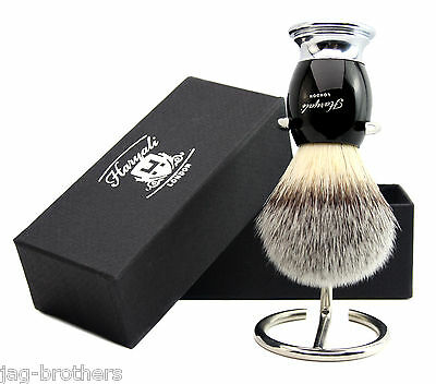 Synthetic( Badger looking) Brush with black and sliver base and Brush Stand