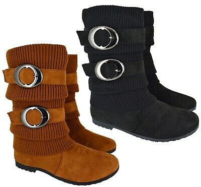 Ladies Womens Flat Low Heel Mid Calf Buckled Pixie Riding Fashion Boots Size 4-8