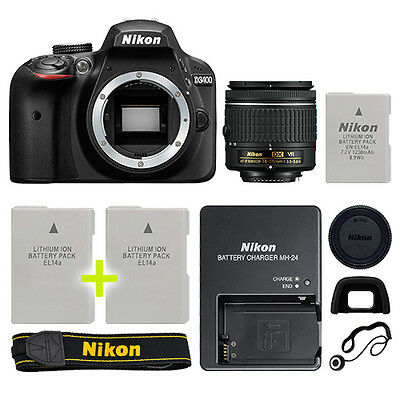 Nikon D3400 Digital SLR Camera with 18-55mm NIKKOR VR Lens + Backup Power Kit