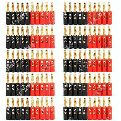 100 Pc 4mm Gold Plated Banana Plug Black And Red Connector