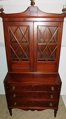 Antique Flame Mahogany Secretary