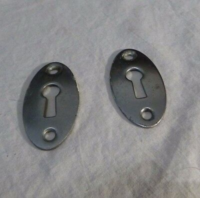 Vintage Pair Chrome Plated Brass Key Hole Covers MID CENTURY