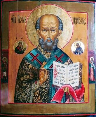 Antique 19C Hand Painted Russian Icon Of St.nicholas