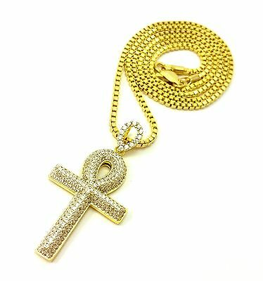 Ancient Egyptian Ankh Key Of Life Gold Cross Pendant Charm Necklace