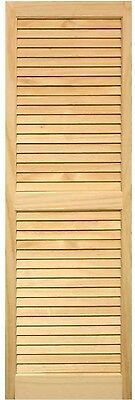 "Louvered Shutters Pair Unfinished Natural Pine Bi-fold Closet Doors 15"" X 59"""