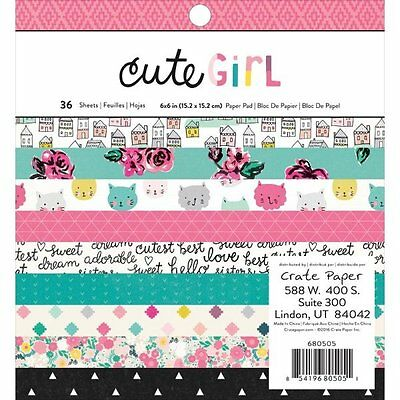 Crate Paper CUTE GIRL Collection 6 x 6 Single Sided Paper Pad