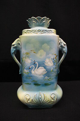 "Antique ROYAL BRUXONIA, Austria, 14"" SWAN Vase w/ELEPHANT Handles & Gold Trim"