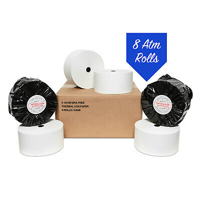 """3 1/8"""" x 915' HEAVY WEIGHT THERMAL ATM RECEIPT PAPER 8 ROLLS / CASE"""