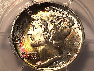 1943-D Mercury Dime  *  PCGS MS-67 + Full Bands Exceptional Color Look !