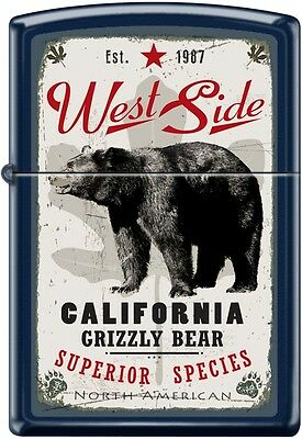 Zippo California Grizzly Bear West Side Est. 1987 Navy Matte New Rare