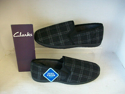 Mens Clarks Slippers King Nevis Charcoal Textile