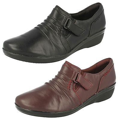 Ladies Clarks Everlay Coda Leather Casual Trouser Shoes E Fitting