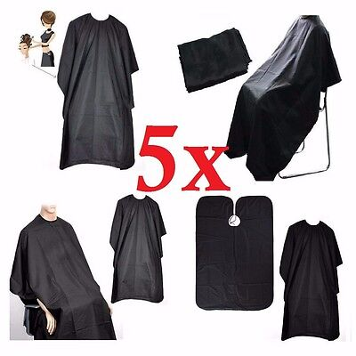 5 x BLACK HAIRDRESSING HAIR CUTTING CAPE BARBER HAIRDRESSER SALON EQUIPMENT GOWN