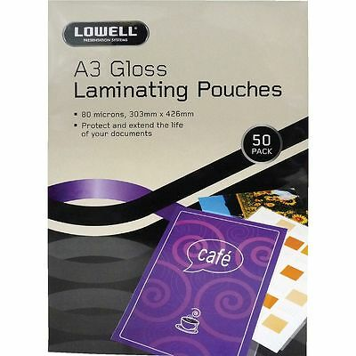 Lowell A3 Laminating Pouches 80 Micron 50 Pack Gloss
