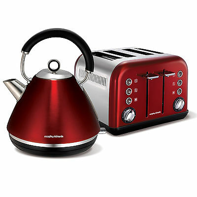 Morphy Richards 102004 - 242004 Accents Kettle & 4 Slice Toaster Set - RED - NEW