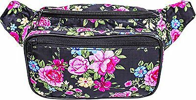 SoJourner Bags Flower Floral Fanny Pack (Traditional -pink, black, blue, yellow)