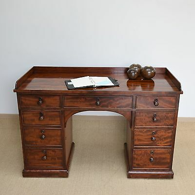 Antique Mahogany Kneehole Desk, Victorian Writing Table, Dressing Table, 19thC