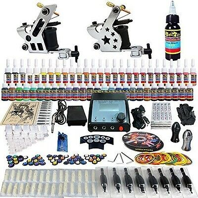 Solong Tattoo Complete Kit 2 Pro Machine Guns 54 Inks Needles Grips Tips TK258