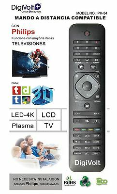 Mando a distancia compatible con TV Philips Lcd Led Plasma sin programacion