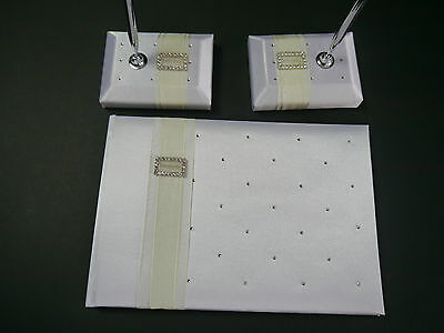 White wedding guest book, diamante with 2 pens