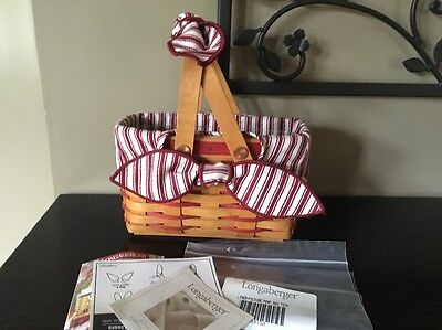 Longaberger '98 Sweetheart Picture Perfect Basket Combo + Handle Tie