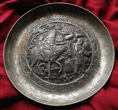 Antique Persian Qajar Isfahan Hand Engraved Metal Plate Mustache Man Horse Child