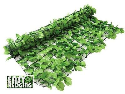 ARTIFICIAL IVY GARDEN HEDGE FENCE WALL PRIVACY SCREENING 3m x 1m LIGHT GREEN