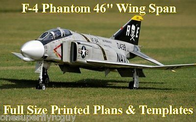 """F-4 Phantom 46"""" WS Giant Scale RC Airplane Full Size PRINTED Plans & Templates"""