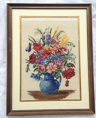 Floral Bouquet in Vase Cross Stitch - matted/Framed (858)
