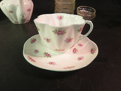 Shelley Rosebud Cup and Saucer Dainty with Green Trim