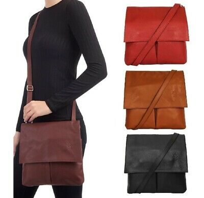 Ladies Handbag Italian Leather Vera Pelle Womens Cross Body Messenger Bag