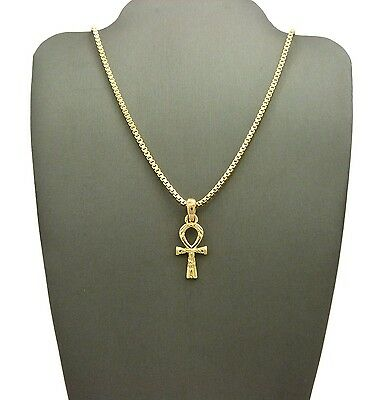 "New Egyptian Ankh Cross Pendant & 18""/20"" Box Chain Hip Hop Necklace - Rc2140G"